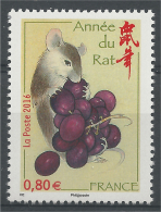 FRANCE, Chinese New Year, Year Of The Rat, 0,80€, 2016, MNH VF - Neufs