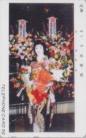 T�l�carte Japon / TCP 110-001 - GEISHA & fleurs - Femme Tradition - Japan phonecard girl - Frau Telefonkarte - 2169