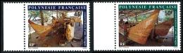 POLYNESIE 1986 - Yv. 266 Et 267 ** SUP Bdf  Faciale= 0,81 EUR - Construction D'une Pirogue (2 Val.) ..Réf.POL22414 - Französisch-Polynesien