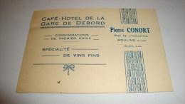 Ancienne Carte De Visite Allier Moulins Café Hotel De La Gare De Débord - Cartes De Visite