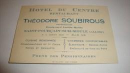 ANCIENNE CARTE DE VISITE 03 ALLIER  SAINT POURCAIN SUR SIOULE HOTEL DU CENTRE  RESTAURANT THEODORE SOUBIROUS - Cartes De Visite