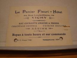ANCIENNE CARTE DE VISITE 03 ALLIER VICHY  HOTEL LE PANIER FLEURI - Cartes De Visite