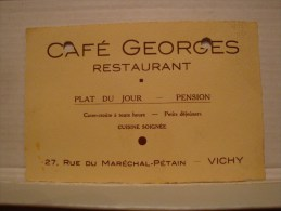 ANCIENNE CARTE DE VISITE 03 ALLIER VICHY  RESTAURANT CAFE GEORGES PENSION - Cartes De Visite