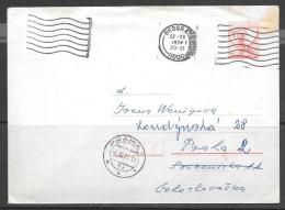 1974 Yugoslavia Beograde (22-XI) Postal Envelope To Czechoslovakia - 1945-1992 Socialist Federal Republic Of Yugoslavia