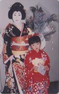 T�l�carte Japon - GEISHA & Enfant - Femme Tradition - Japan phonecard girl & Child - Frau Telefonkarte - 2179