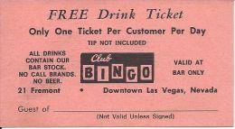 Vintage Club Bingo Casino Downtown Las Vegas - Paper Free Drink Ticket - Advertising