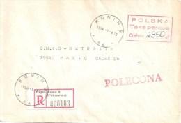 3389 POLOGNE Registred Letter TAXE PERCUE 2850 Zl KONIN  Cukrownia 1990 1 4 Recommandé Dest Paris France - 1944-.... República