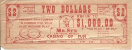 Vintage Mr. Sy's Casino Las Vegas - Paper $2 Free Play Coupon (3 X 8 Inches) - Advertising