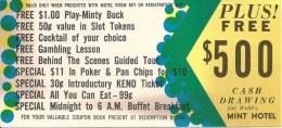 Del Webb's Mint Hotel Casino Las Vegas - Ticket For Free Coupon Book - Advertising