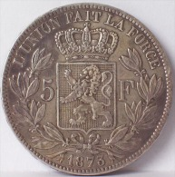 LEOPOLDO II  5 FRANCHI 1873 - MONETA IN ARGENTO - Francia