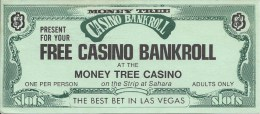 Money Tree Casino Las Vegas - Paper Free Casino Bankroll Coupon (7 X 16 Cm) - Advertising