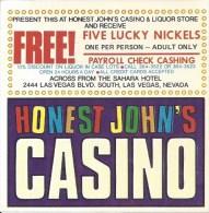 Vintage Honest John's Casino Las Vegas - Paper Coupon (10 X 10 Cm) - Advertising