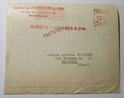 BOURGES SYNDICAT DES AGRICULTEURS DU CHER Oblitération Mécanique Sur Document 23 Ost 1953 - Marcophilie (Lettres)