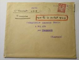 1f50 Type IRIS Seul Sur Lettre 1945 Avec Perforations - Marcophilie (Lettres)