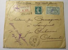LETTRE CHARGEE 1914 Val Déclarée 500f 45c Merson + 5 C Vert Semeuse Credit Lyonnais - Marcophilie (Lettres)