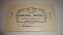ANCIENNE CARTE DE VISITE 63 PUY DE DOME  PONT DE DORE NOUVEL HOTEL DOSGEAS VINCENT - Cartes De Visite
