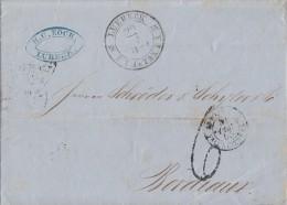 Brief Lübeck 20.12.1855 F. TH. U. Tax. P. A. Gel. Nach Frankreich - Luebeck