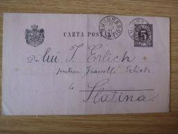 RUMÄNIEN, 1891, GSK Mit ZWEI STEMPELN Von BUCURESCI Nach SLATINA Gelaufen - Cartas