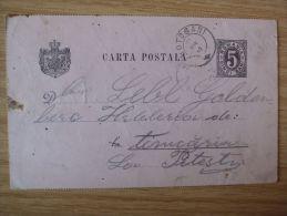 RUMÄNIEN, 1890, GSK Mit STEMPEL Von BOTOSANI Nach PITESTI Gelaufen - Cartas