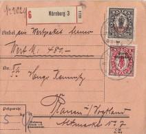 DR Paketkarte Mif Minr.129,133 Nürnberg - Deutschland
