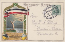 DR Flugpostkarte EF Minr.85I Flugpost Dresden-Leipzig 10.5.14 - Luftpost