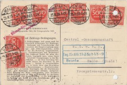 DR Karte Mef Minr.8x 272 Halle 25.8.23 Perfins MW - Deutschland