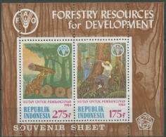 Indonesien 1984 Forstwirtschaft, Bäume Block 54 Postfrisch (C11247) - Indonesia