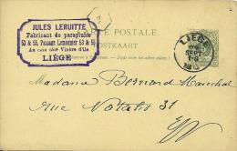 Belgique 1890 Liège / Cachet Privé / Parapluie - Stamped Stationery