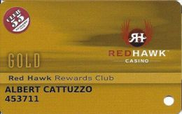 Redhawk Casino Placerville CA Slot Card - White Reverse With Club 55 Senior Sticker - Casino Cards