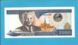 LAOS - 2000 KIP - 1997 - Pick 33.a - UNC. - Serie  AC - BANK OF THE LAO PDR - 2 Scans - Laos