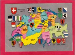 Map,Cantons Of Switzerland,Svizzera,U28. - Switzerland