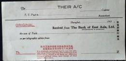 CHINA CHINE CINA SHANGHAI  THE BANK OF EAST ASIA, LTD 193X THEIR A/C - 1912-1949 Republic