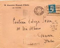 1927  LETTERA  CON ANNULLO  LE HAVRE FRANCIA X GENOVA + TARGHETTA - Storia Postale
