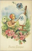 BUONA PASQUA   Pulcino Pittore Con Pipa E Basco Dipinge Grosso Uovo  Fiori - Pasqua
