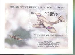ANTIGUA  & BARBUDA  1720 MINT NEVER HINGED SOUVENIR SHEET OF AVIATION ; ROYAL AIR FORCE  # 040 -4 ( - Airplanes
