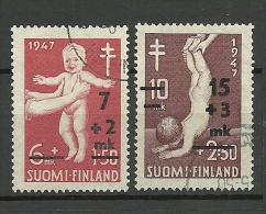 FINNLAND FINLAND 1947 Tuberkulose Michel 353 - 354 O - Finland