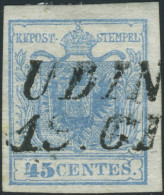 Lombardo-Veneto, 45 Cent. Azzurro Chiaro, Carta A Mano, I Tipo, Sassone N. 10c - Lombardy-Venetia - Lombardei-Venetien - Lombardo-Vénétie