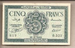 Algeria - Banconota Circolata Da 5 Franchi - 1942 - Algeria
