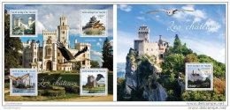 NIGER 2014 ** M/S + S/S Castles Burgen Schlösser Chateaux Owls Eulen Hiboux A1449 - Schlösser U. Burgen
