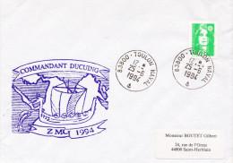 LETTRE AVISO COMMANDANT DUCUING ZMOI 1994 TOULON NAVAL - Marcophilie (Lettres)
