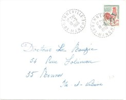 3407 DENNEVILLE  Manche Lettre 0,30 F Coq Decaris Ob 18 3 1966 Yv 1331A Timbre De Carnet Recette Distribution Lautier B7 - Manual Postmarks