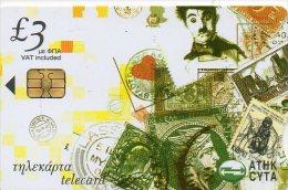 Timbre Stamp Pièce Monnaie - Charlot Charlie Chaplin - Télécarte Chypre Phonecard  Telefonkarte B249 - Chypre