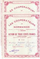 """2 Actions De Trois Cent Francs """"les Coopérateurs De Normandie"""" - A - C"""