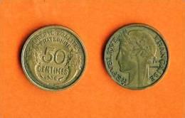 FRANCE 1931-1941 50 Centimes Aluminium Bronze Km894.1 - France