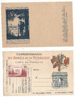 LOT DE 2- CORRESPONDANCE DES ARMEES DE LA REPUBLIQUE-CARTE EN FRANCHISE- - Guerre 1914-18