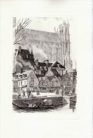 1955 - Pointe Sèche Originale De Charles SANSON - Amiens (Somme) - Le Vieux Quai - FRANCO DE PORT - Estampes & Gravures