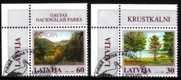Lettland 1999  MiNr. 496/ 497  O/ Used  Naturschutz: Krustkalni, Gauja - Latvia