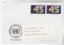 1990 UN GENEVE Administration Postale COVER Franked 2x 45 Anniv United Nation Stamps - Genf - Büro Der Vereinten Nationen
