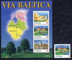 LATVIA  1995 Baltic Highway Stamp + Block MNH / **.  Michel 395, Block 5 - Latvia