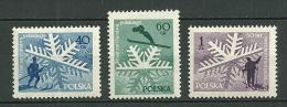 POLAND MNH ** 882-84 CINQUENTENAIRE SKI NATIONAL. SKIEUR. SKIS Flocon De Neige - 1944-.... Republik